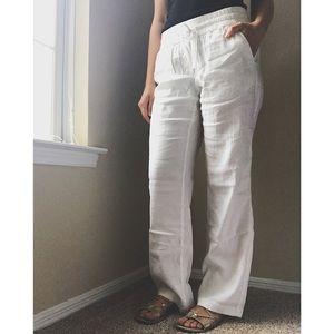 Ann Taylor White Linen Pants